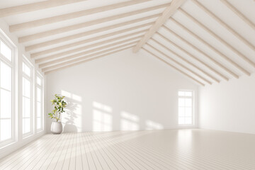 Obraz 3d render of empty room with white wall and vase of plant on wooden laminate floor. - fototapety do salonu