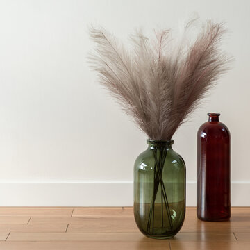 Two decorative vases on wooden floor, close-up