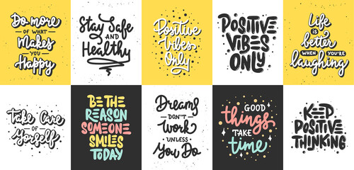 Fototapeta Set of 10 Motivational posters with hand drawn lettering design element for wall art, decoration, t-shirt prints.  Inspirational quote, handwritten typography positive summer slogan. obraz