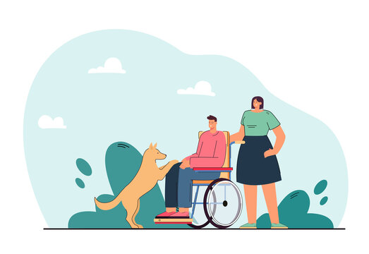 Dog next to disabled man on wheelchair. Woman helping handicapped person playing with domestic animal flat vector illustration. Disability, pets concept for banner, website design or landing web page