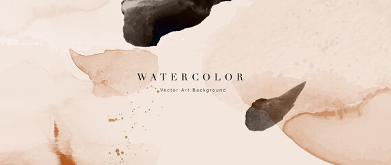 Fototapeta Watercolor art background vector. Wallpaper design with paint brush and gold line art. Earth tone blue, pink, ivory, beige watercolor Illustration for prints, wall art, cover and invitation cards. obraz