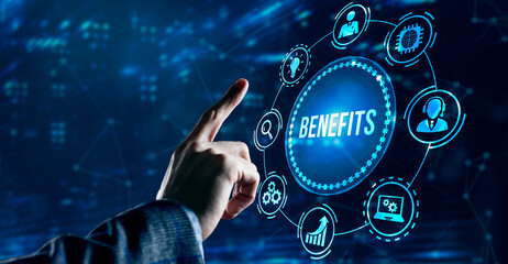 Fototapeta Internet, business, Technology and network concept.Employee benefits help to get the best human resources. Business concept obraz