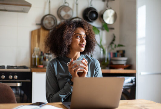 African American businesswoman working from home