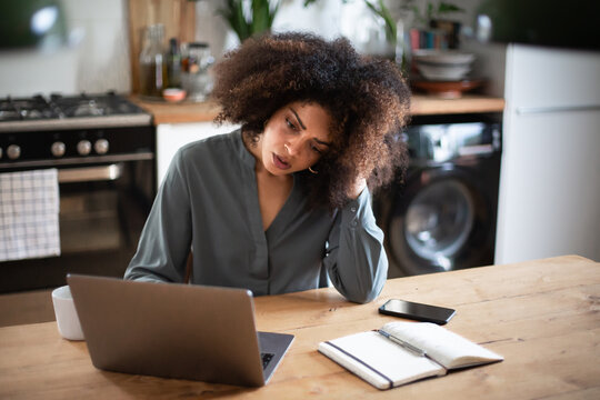 Stressed African American businesswoman working from home