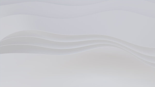 Abstract wallpaper created from White 3D Ribbons. Light 3D Render with copy-space.