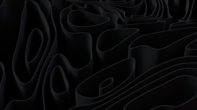 Black 3D Ribbons ripple to make a Dark abstract wallpaper. 3D Render.
