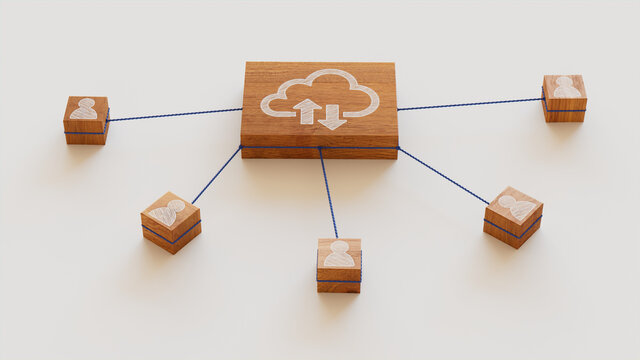Data storage Technology Concept with cloud Symbol on a Wooden Block. User Network Connections are Represented with Blue string. White background. 3D Render.