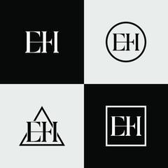 Fototapeta E and H letter logo design obraz
