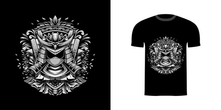 retro illustration samurai for tshirt design, badge design character with engraving ornament