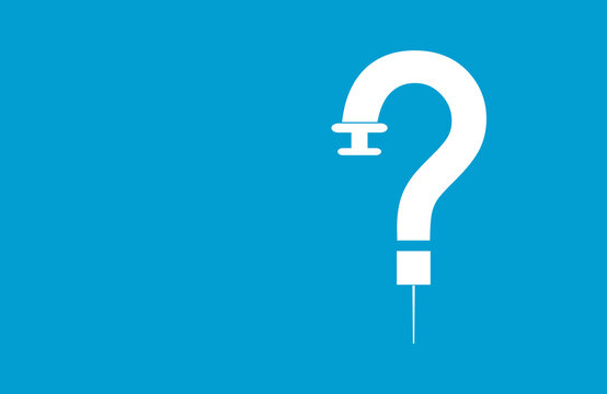 Syringe Question mark. vaccination Concept Creative Idea.  Blue Medical background. Vaccine FAQ and help Concepts
