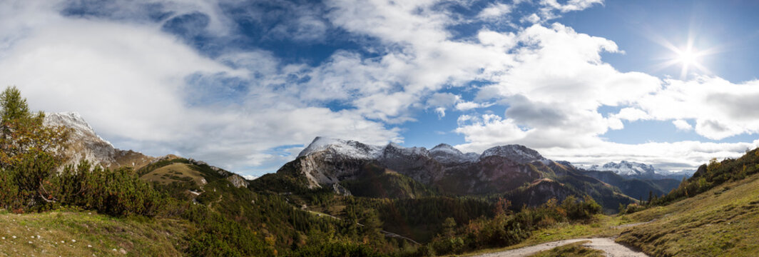 Panorama view Schneibstein mountain in Bavaria, Germany