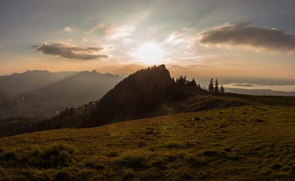 Panorama view of Zwolferspitz mountain, Chiemgau, in Bavaria, Germany