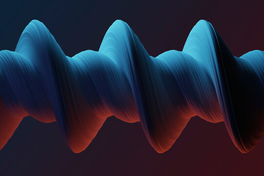 Three dimensional render of blue colored twisted shape