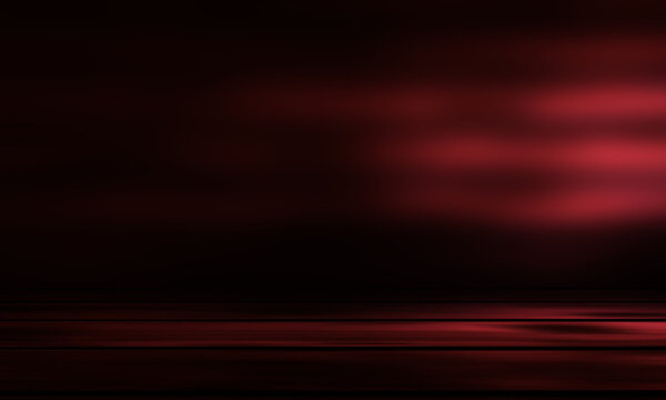 Dark abstract background with wooden surface. Spotlight, smoke, fog