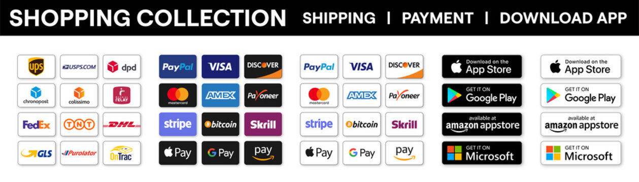 Payment, Shipping, Download App buttons vector collection. Payment system, Shipping companies, Application mobile download. Online shopping logos icons set. Editorial vector illustration.