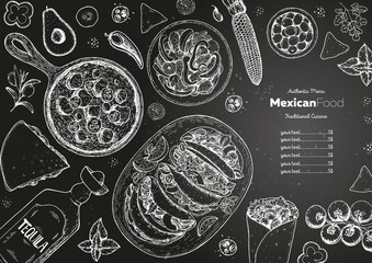 Fototapeta Mexican food top view frame. A set of classic mexican dishes with tacos, burrito, quesadillas, fajitas. Food menu design template. Vintage hand drawn sketch vector illustration. Mexican cuisine. obraz