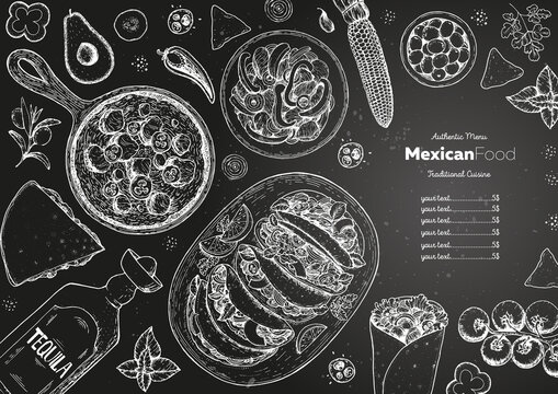 Mexican food top view frame. A set of classic mexican dishes with tacos, burrito, quesadillas, fajitas. Food menu design template. Vintage hand drawn sketch vector illustration. Mexican cuisine.