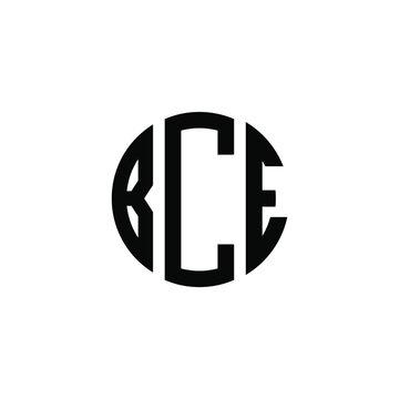 BCE letter logo design. BCE letter in circle shape. BCE Creative three letter logo. Logo with three letters. BCE circle logo. BCE letter vector design logo