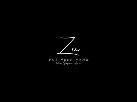 Letter ZU Logo, handwritten signature zu logo icon vector for business or your brand