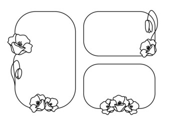 Fototapeta Maki polne - kwiaty i pąki. Ramki z wzorem roślinnym w prostym nowoczesnym stylu. Szablon do zastosowania jako zaproszenia ślubne, życzenia, planer, tło dla social media stories. Ilustracja wektorowa. obraz