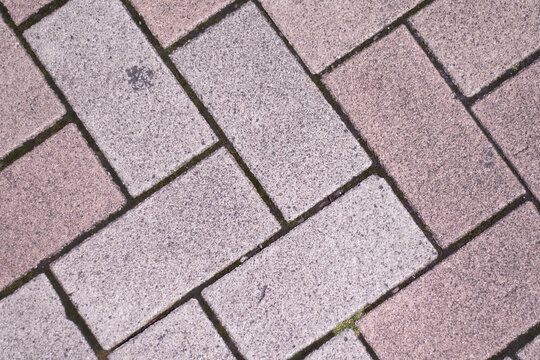 Brick tiles are lined up regularly