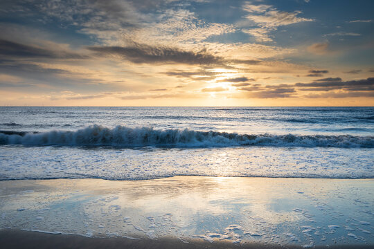 sunset on stormy North sea