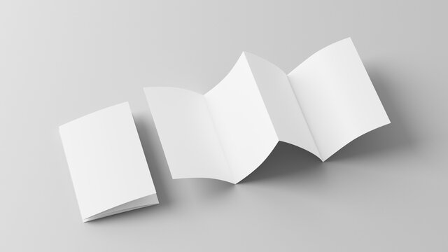 Vertical page zigzag or accordion fold brochure. Four panels, eight pages blank leaflet. Mock up on white background for presentation design. Folded and front side.