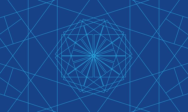 Symmetrical blue thin lines abstract bacground