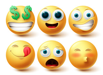 Fototapeta Emoji smiley vector set. Smileys emoticon happy collection facial expressions isolated in white background for graphic design elements. Vector illustration  obraz