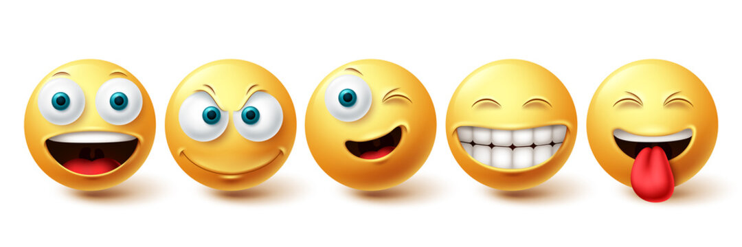 Smiley happy vector set. Smileys face yellow emoticon with funny, winking and naughty facial expressions isolated in white background for design elements. Vector illustration