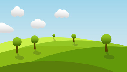 landscape cartoon scene with trees, green grass on hill and white cloud in summer blue sky background with copy space
