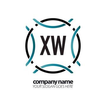 Initial Letter XW Circle Sport Logo Design Template. Creative circle template logo