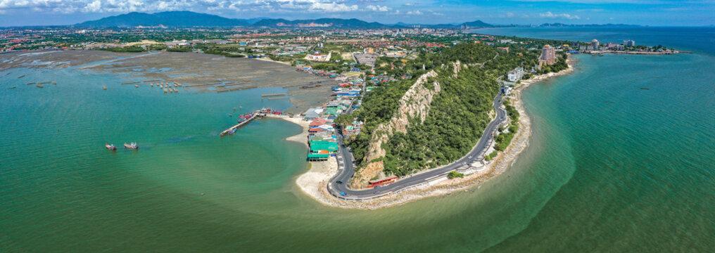 Aerial view of Bang Saen Kao Sam Muk hill viewpoint, near Pattaya, Chonburi, Thailand
