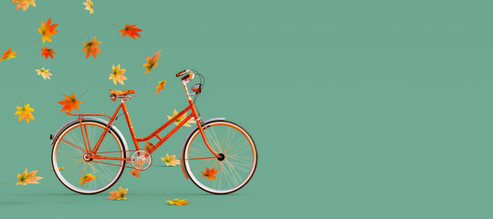 Orange bicycle arriving with falling dry leaves on green background. Autumn is coming concept image 3D Rendering, 3D Illustration