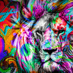 colorful artistic lion muzzle with bright paint splatters on white background.