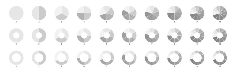 Fototapeta Segment slice sign. Pie chart gray icons. 10,2,4,5 segment infographic. Wheel round diagram part symbol. Circle section graph. Three phase, six circular cycle. Geometric element. Vector illustration obraz