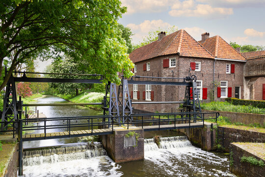 Double Stoneysluis or sliding weir in the center of the historic city Amersfoort near the famous Koppelpoort.