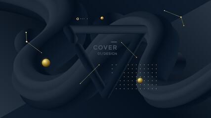 Obraz Black Minimal background for banner, flyer, cover, brochure. Vector geometric illustration - fototapety do salonu