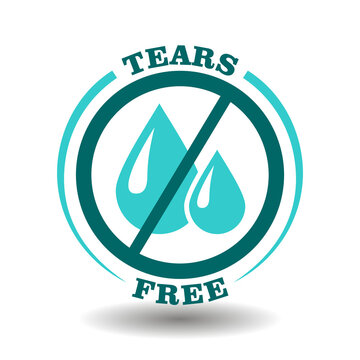 Simple vector round logo No Tears, Tears Free icon for gentle care cosmetic products with soft formula sign. Prohibited liquid water drops symbol in blue circle pictogram