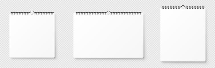 Fototapeta Realistic blank wall calendar. Spiral blank wall calendar mockup. Mock up with shadow on transparent backgroung - stock vector. obraz