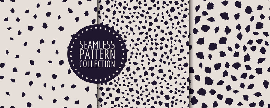 Colorful set of seamless patterns, backgrounds, headers, collages with different shapes and textures. Vector illustrations. Trendy colors