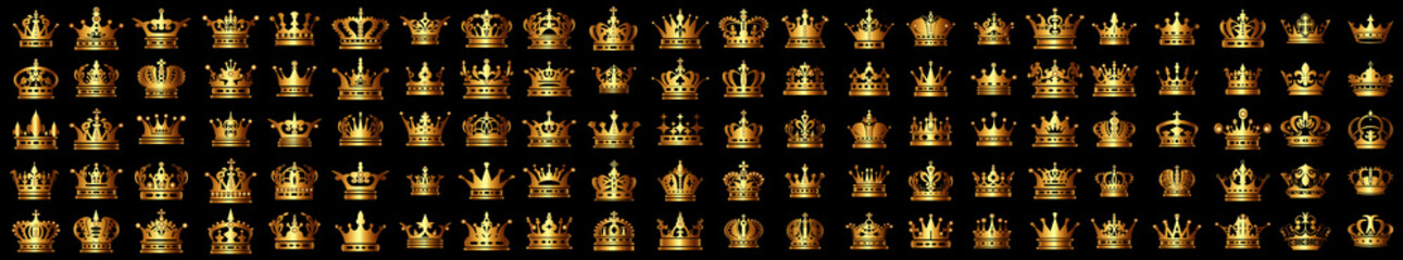 Fototapeta Set of golden crowns for king, Set of royal icon, Crown, Golden crown on a white background. Vector illustration. Royal Gold Crown Isolated, golden crown obraz