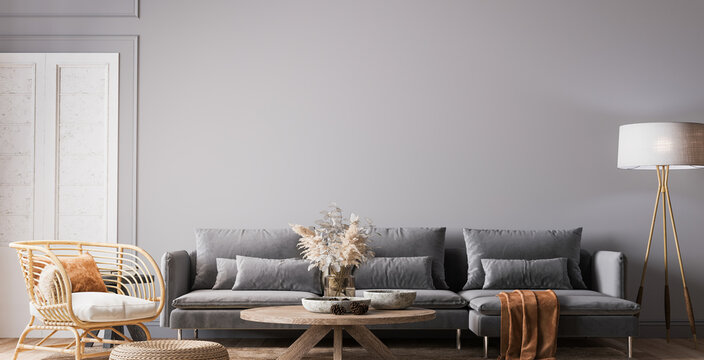 Cozy gray living room in Scandinavian boho design, 3d render