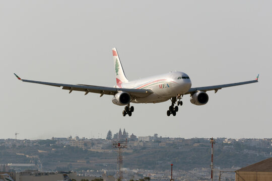 Luqa, Malta July 12, 2016: Middle East Airlines (MEA) Airbus A330-243 [OD-MED] landing runway 13.