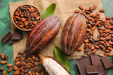 Fresh cocoa fruits, beans and chocolate on color background