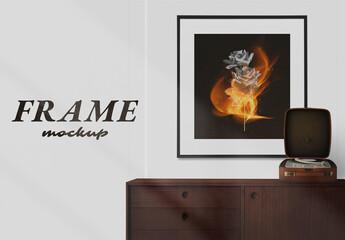 Obraz Modern Picture Frame Mockup with Wood Furniture - fototapety do salonu