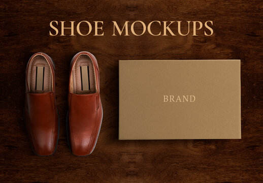 Men'S Leather Shoes Mockup with Paper Box