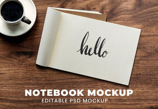 Opened Notebook Pages Mockup on Wooden Background