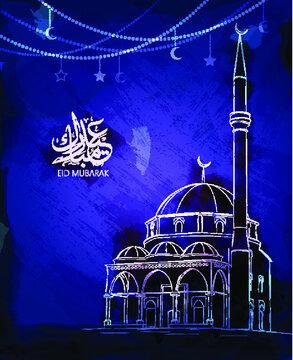 Illustration of Eid Mubarak and Humanitarian Aid. cute islamic and arabic calligraphy greeting background Aid el fitre and el adha mubarak and mabrok. traduction: greeting  muslim community festival