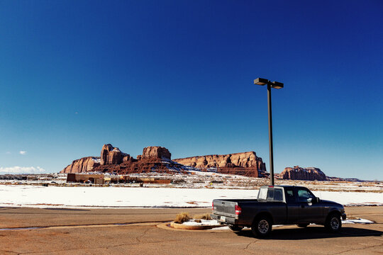Trucked parked in Monument Valley Landscape